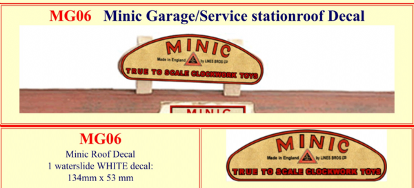 MG06 Tri-ang ( Triang ) Minic Garage / Service Station ROOF Decal